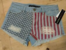 MEW Womens Tinseltown denim patriotic USA Flag Shorts cutoffs sz 5 NWT