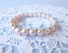 Vintage Pink Freshwater Pearl stretch Bracelet with tiny Sterling Silver Bead