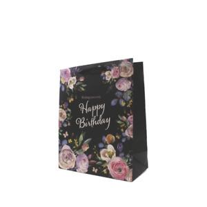 Black Floral Design Large Birthday Gift Bag