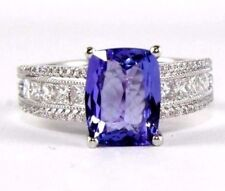 Natural Radiant Tanzanite & Diamond Solitaire Lady's Ring 14k White Gold 3.47Ct