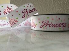 NEW PRINCESS AND CROWN WHITE AND PINK GROSGRAIN RIBBON 1yd