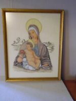 """Beautiful Hand Embroidered Framed Mary & Baby Jesus Art Picture 21"""" X 17"""""""