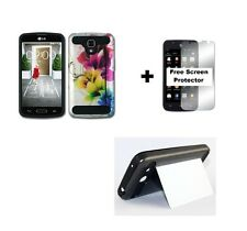 LG Optimus Exceed 2 VS450PP Rugged Hybrid Case + Screen Protector - Color Flower