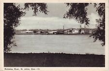 Canada St. Johns Saint-Jean-sur-Richelieu Quebec River Bank old unused postcard