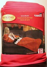 SANTA CLAUS CHRISTMAS BLANKET Cover Up Throw Adults Red Holidays Sleeves NEW