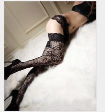 Women Punk Rivets Lace Thigh High Stockings Fishnet Hold Up Hosiery Socks Black