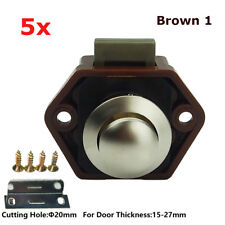 5x Push Button Catch Pop Up Locks Knob Latch Camper RV Motorhome Cabinet Brown 1