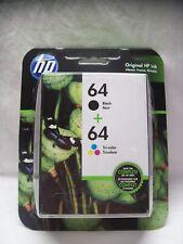 GENUINE HP 64 Black & Tri Color Ink Cartridges, Exp 6/19+