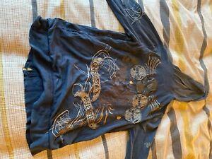Christian Audigier Cardigan Stonewashed Blue Medium Heavy Logo Zip