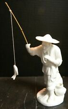 Vintage Blanc de Chine White Porcelain Oriental Fisherman w/ Fish on Line Excell