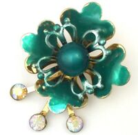 VINTAGE FLOWER BROOCH GREEN ENAMEL IRIDESCENT RHINESTONE GOLD TONE METAL JEWELRY