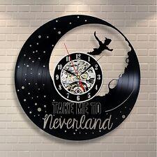 Peter Pan Disney Neverland Wendy Tinkerbell Vinyl Clock Home Decor