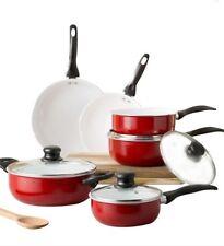 The Best Nonstick Cookware Pots Pans Red Ceramic 10 piece Cooking Set Lids Home
