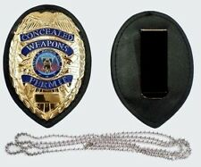 Police style CLIP + NECK CHAIN GOLD CONCEALED CARRY PERMIT CCW BADGE