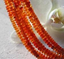 1 strang micro facettierte, schattierte orange karneol rondelle 3mm , 40 cm