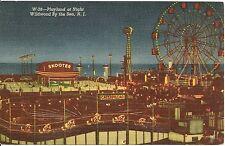 Playland at Night Wildwood By The Sea NJ Postcard Amusement Park