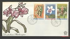 INDONESIA 1977 FDC SHP 43 ORCHIDS ORCHIDEE + BLANK