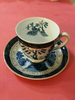 VINTAGE IRONSTONE WARE BLUE WILLOW CUP AND SAUCER, MADE IN OCCUPIED JAPAN rare