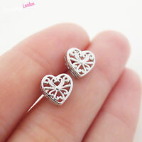 Vintage Solid 925 Sterling Silver Detailed Hollow 3D Love Heart Stud Earrings