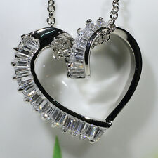 18K White Gold Filled AAA Baguette CZ Women Necklace Heart Pendant Jewelry P1902