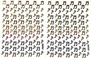 MUSIC / MUSICAL NOTE STICKERS x 2 sheets, metallic, Gold Outline *top quality*