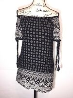 Band Of Gypsies Off the Shoulder Dress Womens Size S Small Diamond Floral Print
