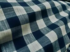 Gingham Linen Checked Linen Fabric Plaid Material -55'' wide- NAVY&WHITE Square