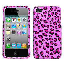 For iPHONE 4 4S - HARD FITTED SKIN CASE COVER PINK BLACK LEOPARD CHEETAH PRINTS