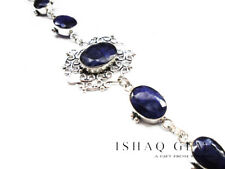 Sterling Silver Faceted Sapphire Gemstone Bracelet Women's Gifts for Her