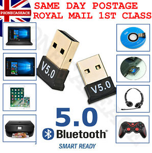 USB Bluetooth V5.0 CSR Wireless Mini Dongle Adapter For Win7 8 10 PC Laptop