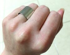 Plain Silver Plated Delicate Wide Band Adjustable Simple Delicate Gift Ring 7.5