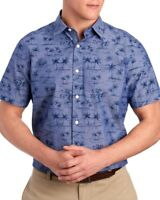 Nautica Mens Navy Blue Palm Trees Huts S/S Button-Front Shirt NWT $59 Size S