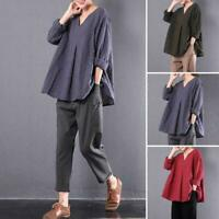 Women Vintage Flax 3/4 Sleeve V-Neck Cotton Linen Loose Tunic Shirt Top Blouse