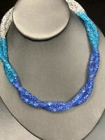 Vintage Blue Shades Encapsulated Crystal 16 inch Beaded statement Necklace