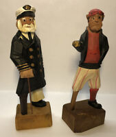 Vintage Hand-Carved Wooden Peg-Leg Sea Captain & First Mate Figurine Nautical