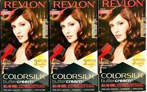 (3) Revlon Colorsilk Butter Cream 535 Medium Golden Mahogany Brown Hair Dye