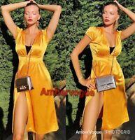 Zara Pleated Long Maxi Flowing Dress Yellow Satin Size S uk 8 10