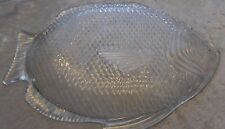 """Oven Proof Clear Pressed Glass Fish Shaped Platter Plate Large 15"""" x 11"""""""
