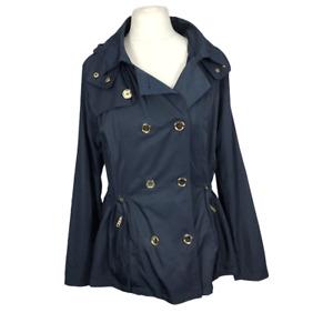 TU Women's Size 18 Blue Double Breasted Lined Hooded Long Sleeve Smart Jacket