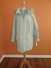 New Croft & Barrow Size 3X Oyster Tan Sueded Faux Fur Hooded Parka Coat/Jacket