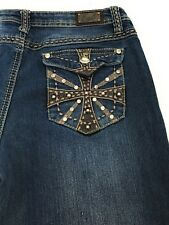Earl Jean Thick Stitch Bling Embellished Flap Pockets Blue Jeans Women's 6P