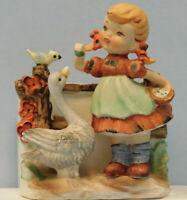 Vintage Ceramic Porcelain Girl w/Pigtails Feeding Goose Bird Figurine Planter