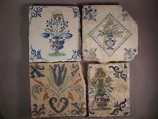 4 Antique Dutch polychrome flower tiles rare 17th century -- free shipping