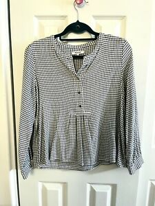 Madewell Blouse Size Large Stripe Long Bell Sleeve Top White Black popover Top