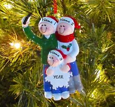 Taking A Selfie Family Of 3 Personalized Christmas Tree Ornaments