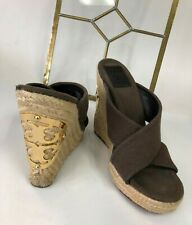 2787b40bfbfd WOMENS Tory Burch Espadrilles BROWN CANVAS WEDGE HEEL SANDALS SHOES 7.5 M