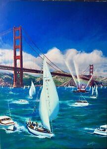 SAN FRANCISCO Golden Gate Bridge 1957 Sail Boat Regatta HUGE CANVAS Vancas 1950s