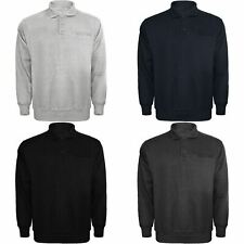 Mens Long Sleeved Plain Button Polo Shirt Sweatshirt Cotton Top Fleece Jumper
