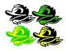 4-Pack Oregon Ducks Football Color Die Cut Vinyl Decal Sticker 7x4.75 in