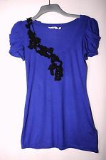 ROYAL BLUE LADIES CASUAL PARTY TOP SIZE 14 NEW LOOK STRETCH BLOUSE LACE APPLICAT